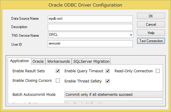 Oracle ODBC Driver Configuration