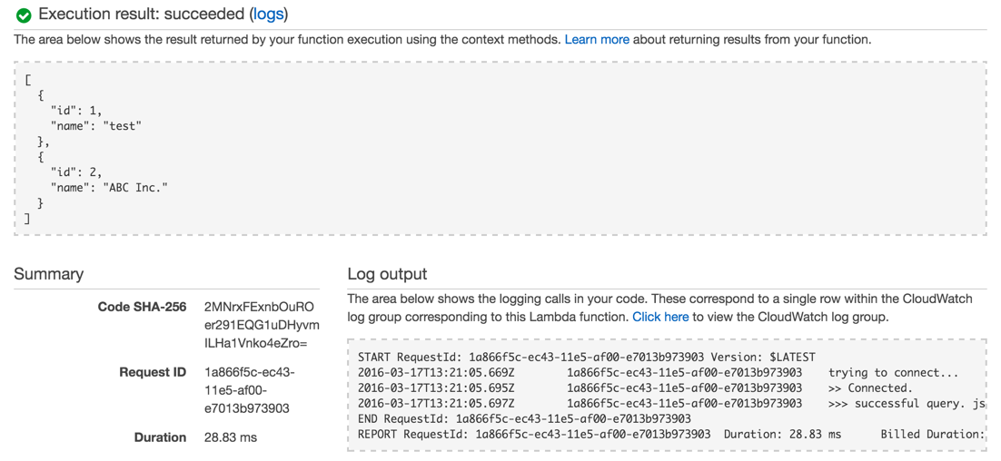 AWS Lambda テスト実行結果 - 成功