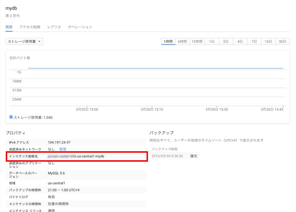 Google Cloud SQL インスタンス接続名の確認