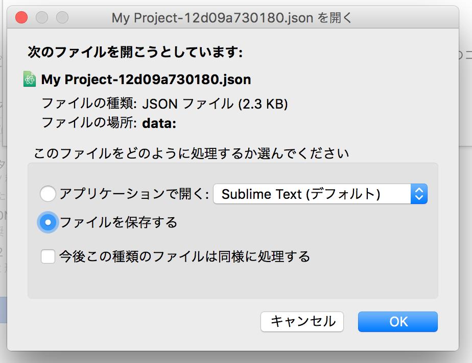 Google Cloud SQL サーバー アカウント キーのダウンロード