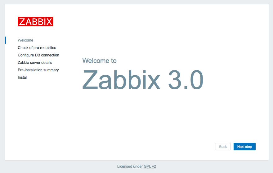 インストール zabbix 3.0 フロントエンド インストーラー Step 1 Welcome