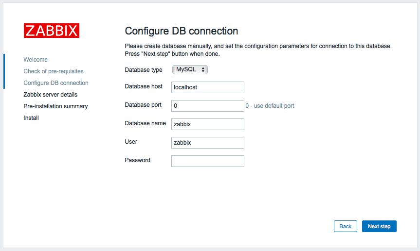 インストール zabbix 3.0 フロントエンド インストーラー Step 3 データベース接続設定