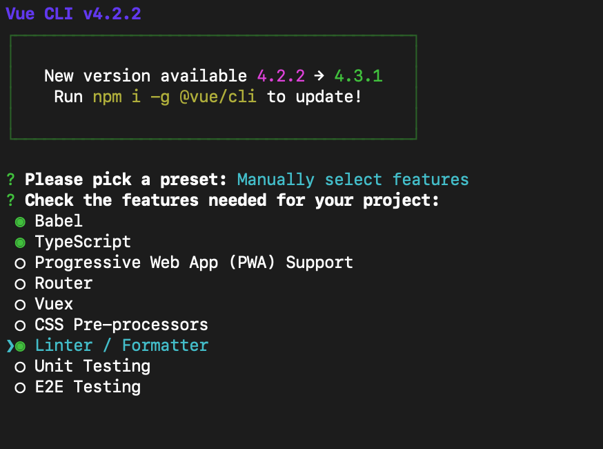 vue cliでtypescriptのプロジェクトを作成